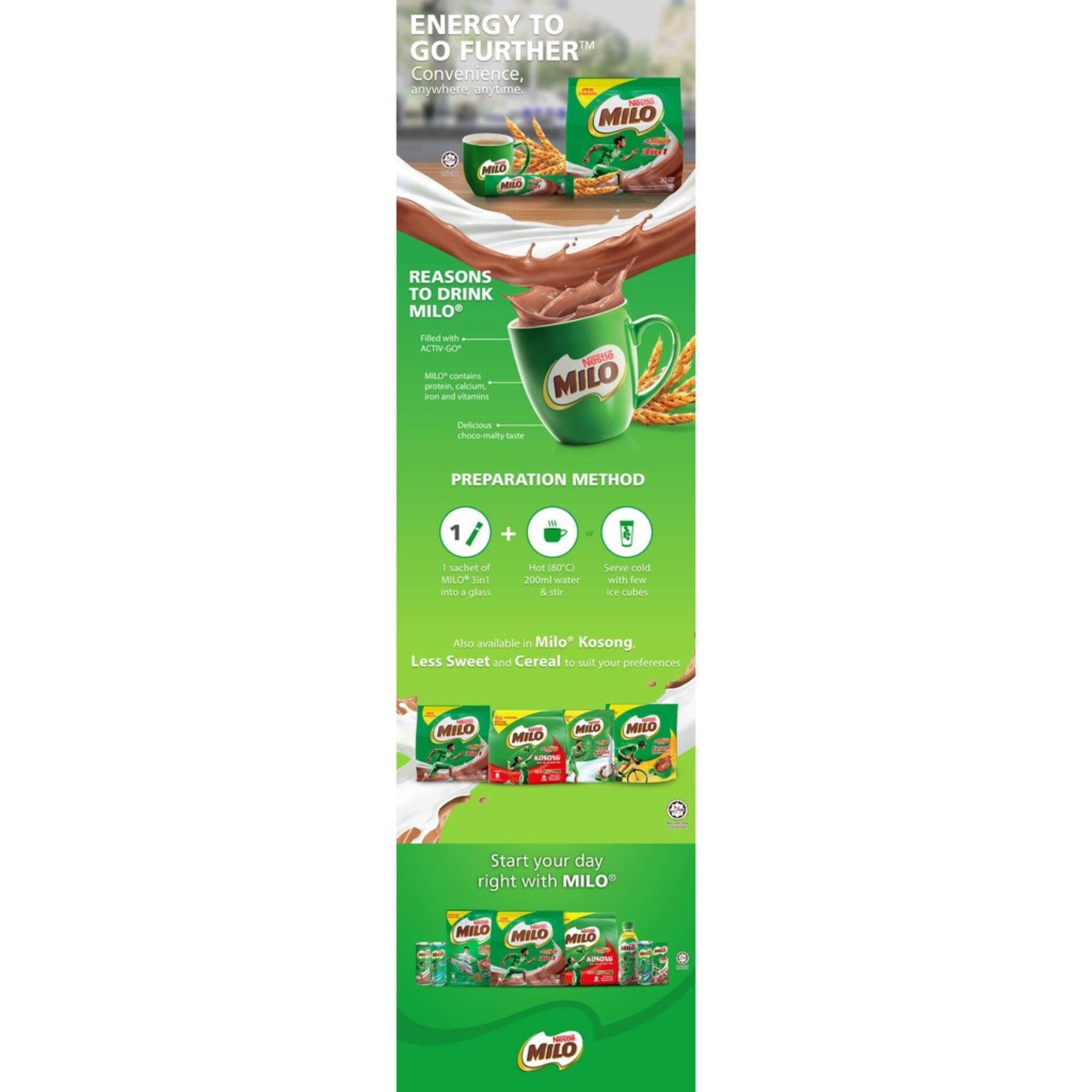Milo Activ Go Minuman Susu 33 G 21 Sachet Daftar Harga Terbaru Dan 18g 10sachet Gratis 1sachet Nestle 3in1 30 Sticks 33g X2 Packs 5