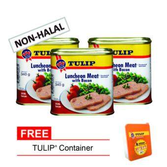 (NON-HALAL) Tulip Pork Luncheon Meat with Bacon 340g (3 CANS FREE CONTAINER)