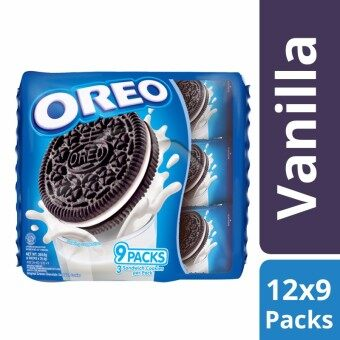 Oreo Cream-Filled Sandwich Cookie, Vanilla Creme Pack of 12 - 9 Units Multipack (Total 108 Units)