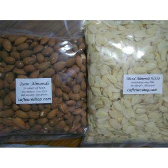 Raw Almonds (USA) 500 Grams + Sliced Almonds 500 grams