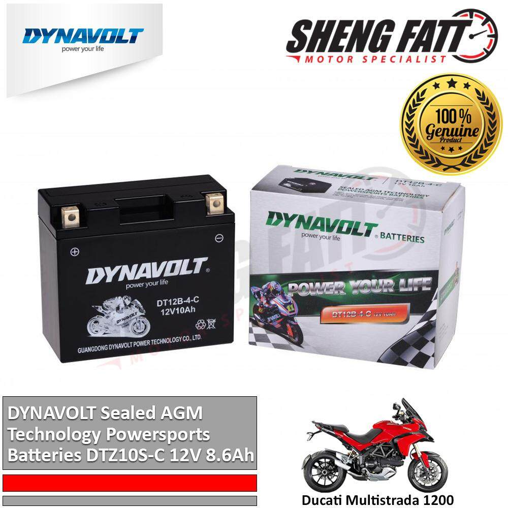 Ducati Multistrada 1200 DYNAVOLT Sealed AGM Technology Powersports Batteries DT12B-4-C 12V 10Ah