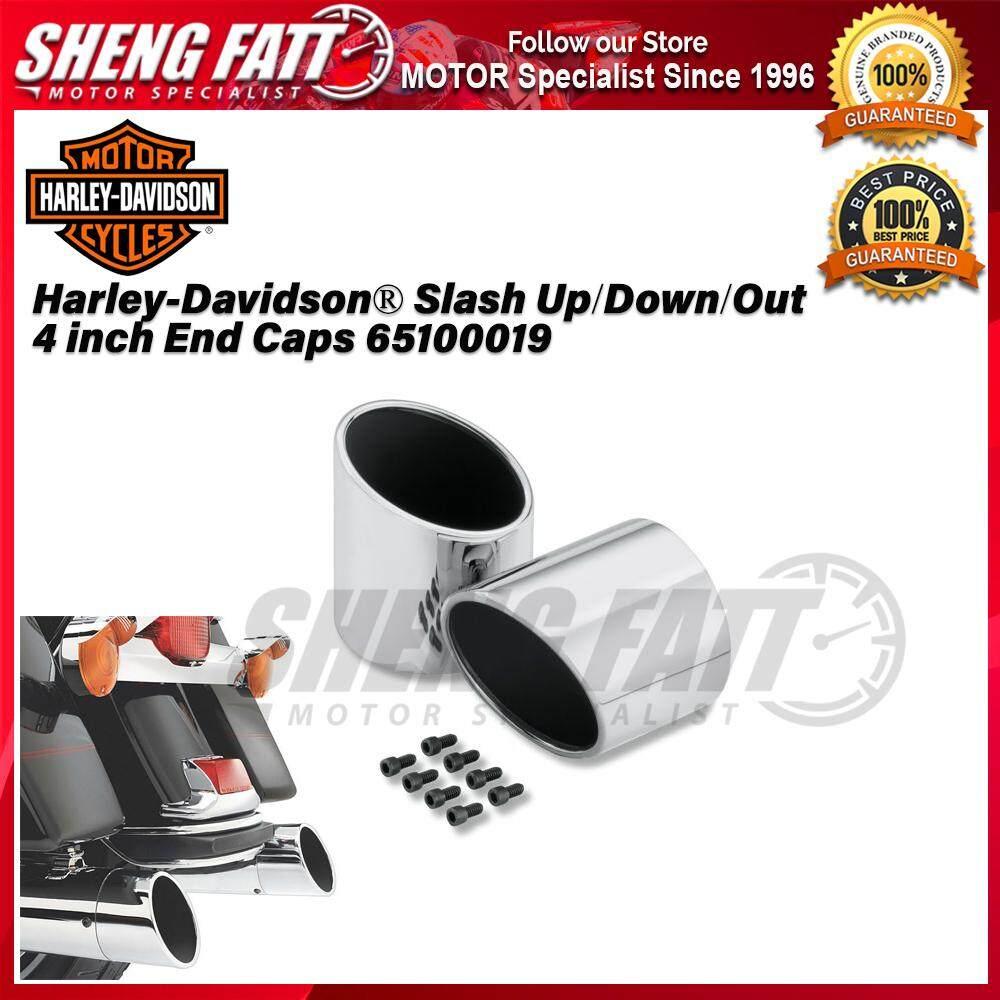 Harley-Davidson® Harley-Davidson® Slash Up/Down/Out 4 inch End Caps 65100019 - [ORIGINAL]