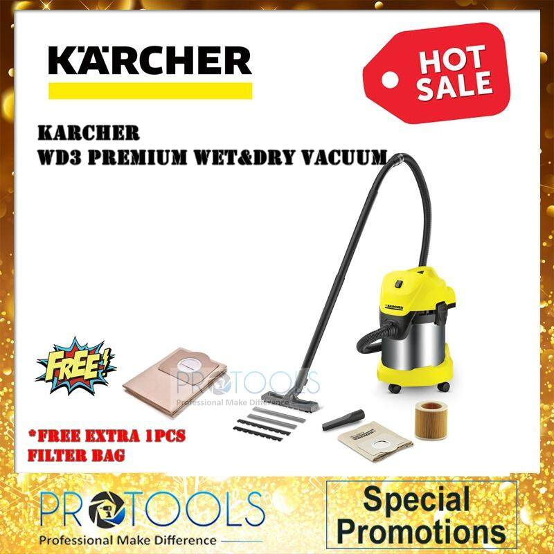 Karcher Premium Wet and Dry Vacuum Cleaner Stainless Steel 17L WD3 PREMIUM + FREE GIFT