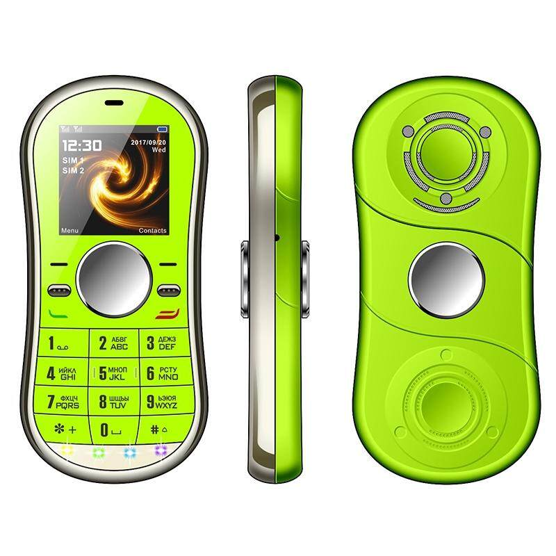 Metal LCD BLUETOOTH Small Cell Phone GSM Dual SIM Rotating Finger Spinner Gyro - GREEN / GOLD / BLUE / BLACK