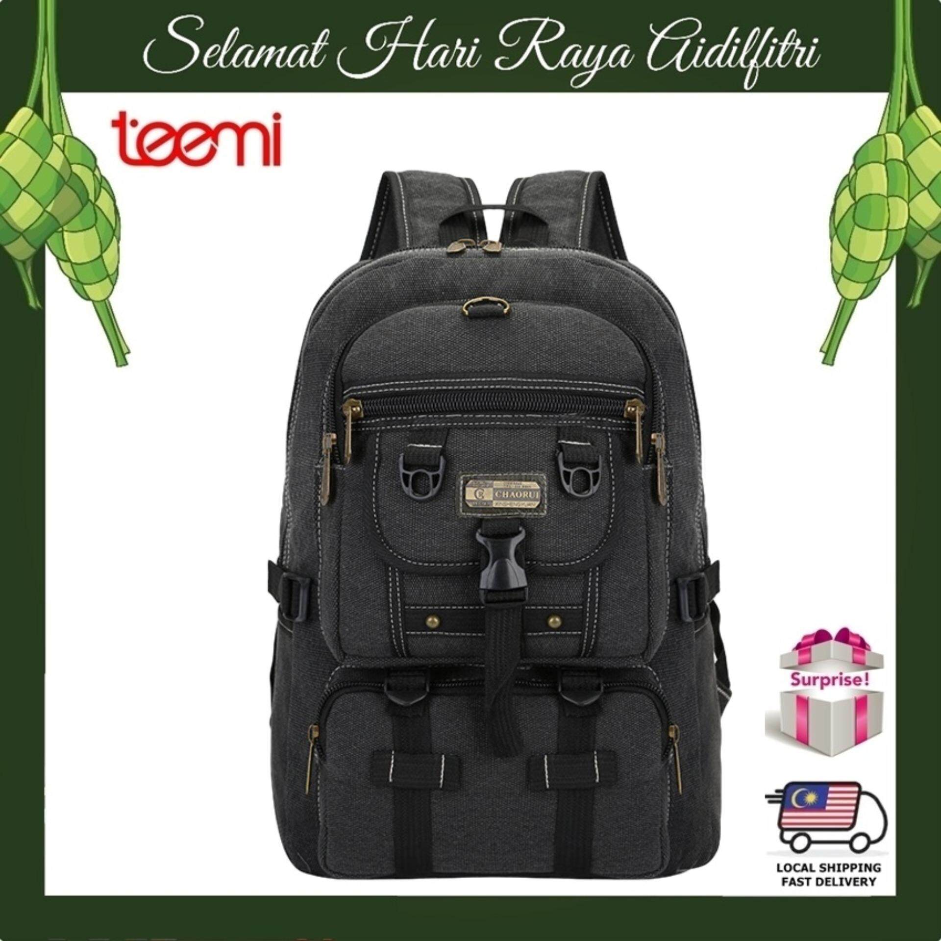 TEEMI Canvas Backpack Rucksack Outdoor Outing Camping Travel Rugged Bag - Black