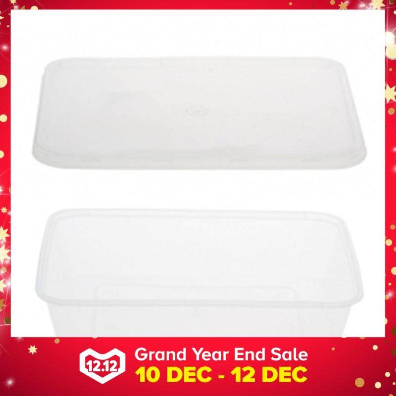 500ml PP Microwavable Rectangular Container With Lids Clear 5pcs