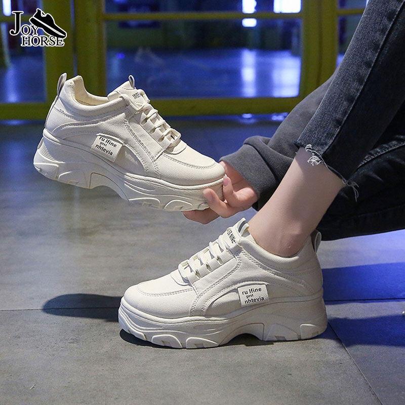 JOY รองเท้าเเฟชั่น รองเท้าวิ่งหญง  รองเท้าผ้าใบผญสีขาว ผ้าใบรองเท้าผ้าใบรองเท้าผ้าใบผญ รองเท้าผ้าใบสีขาว รองเท้าผู้หญิง