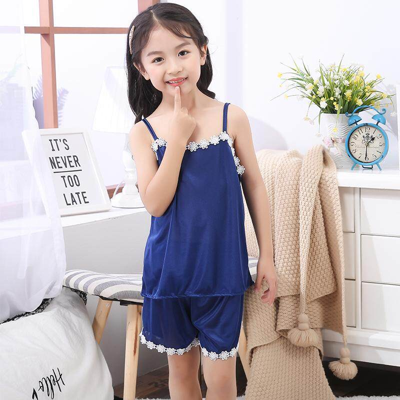 【SIMPLE & NICE】Kids Girls Fashion Floral Cutting Premium Quality Silk Simple Casual Wear & Sleep Pyjamas (Size: 8-16)
