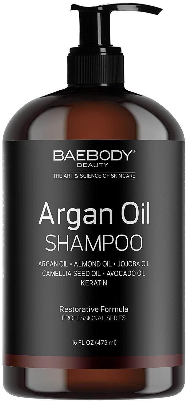[ iiMONO ] Baebody Moroccan Argan Oil Shampoo 16 Oz - Volumizing & Moisturizing, Gentle on Curly & Color Treated Hair, for Men & Women. Infused with Keratin. (473ml)