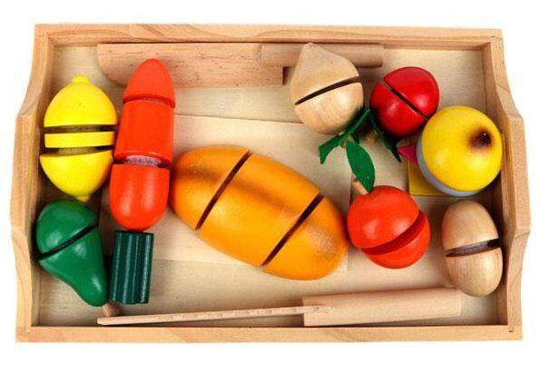Wooden Food Cutting Playset with tray - Velcro toys for girls