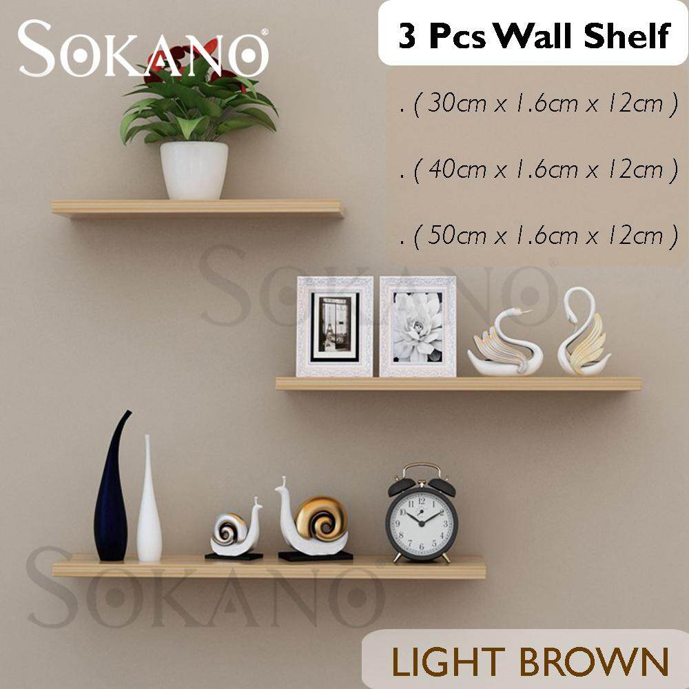SOKANO ES005 3pcs Wall Shelf Home Decoration Frame Simple Modern Shelf Rak Hiasan