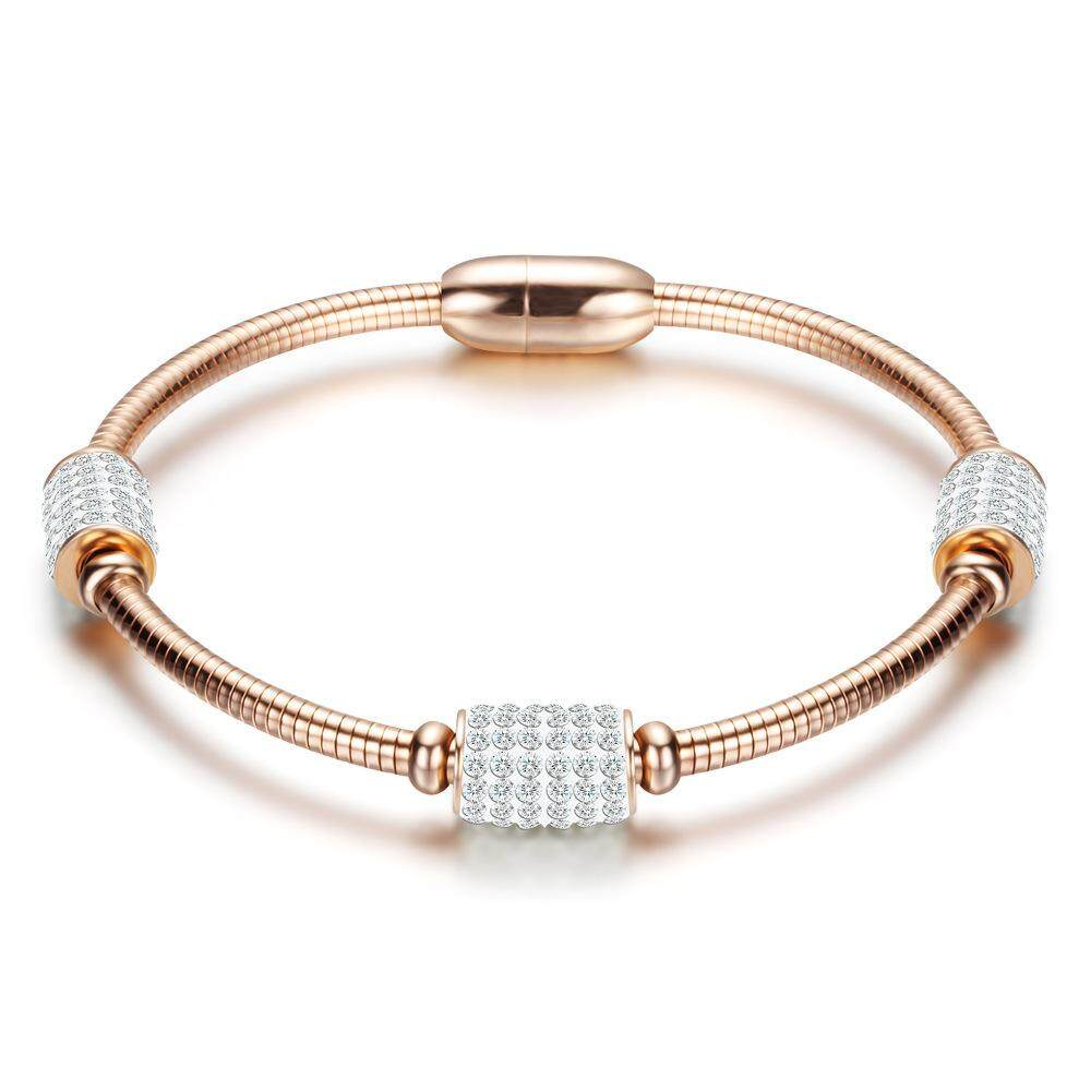 Fashion Women Crystal Bead Bracelet Rose Gold Silver Stainless Steel Snake  Chain a51f92abb5