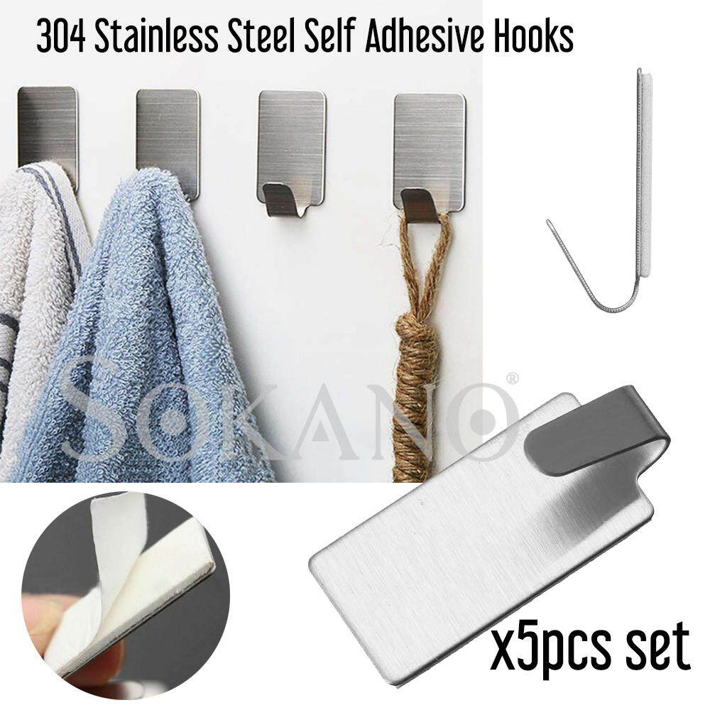 SOKANO 304 Stainless Steel Self Adhesive Hooks Key Rack Garage Storage Organizer Stick On Sticky Bathroom Kitchen Towel Hanger Wall Mount Cangkuk (5 Pcs Set)