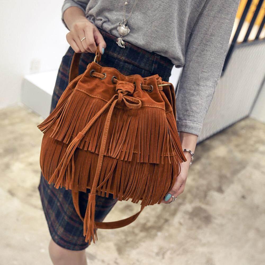 กระเป๋าเป้ นักเรียน ผู้หญิง วัยรุ่น พระนครศรีอยุธยา Makiyo Retro Faux Suede women Tassel buckets shoulder bag  Brown