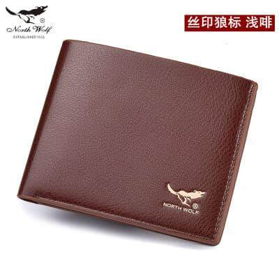 [M\'sia Warehouse Direct] 2019 North Wolf Korean Series Men\'s Wallet Bi Fold Fengshui Wallet Europe Designer Perfect Gift (Come With Box) Clutch Card Coins Cash Slot With Zip Portable Hand Carry Bag Luxury Top Material Genuine Leather Halal Dompet Kulit