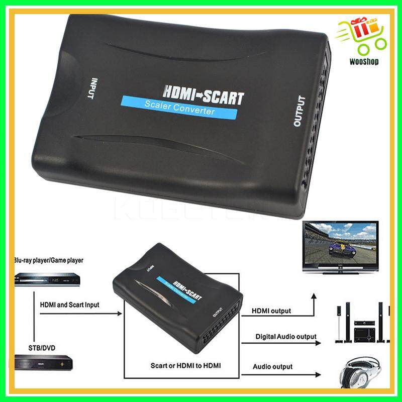 1080P SCART To HDMI Video Audio Upscale Converter Adapter For HD TV DVD