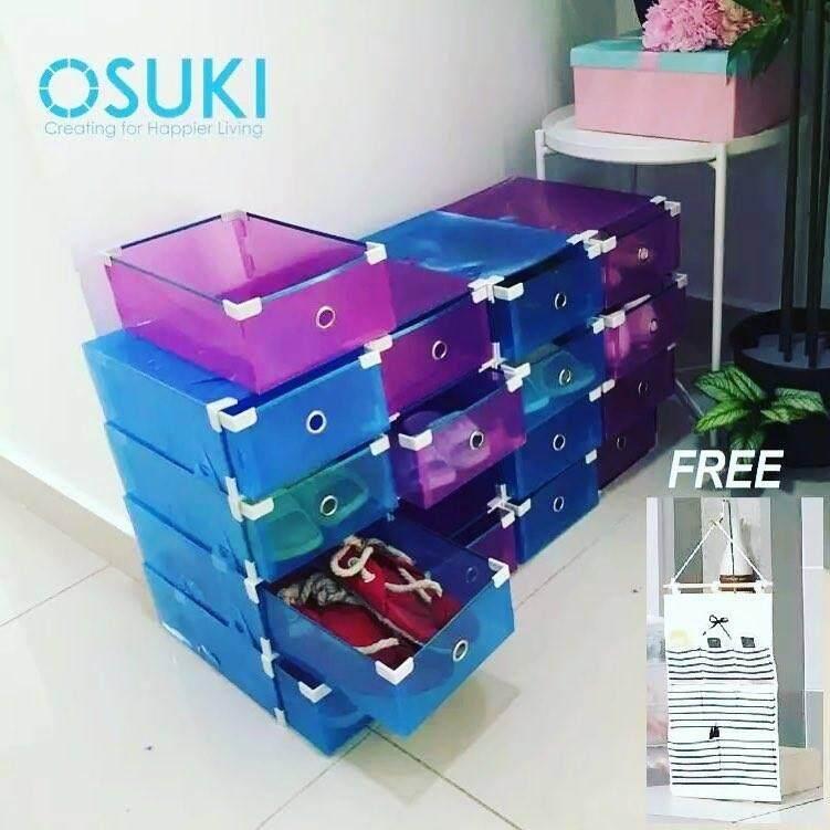OSUKI Transparent Storage 16 Box Drawer Type Shoe Rack (8-Blue + 8-Purple)-FREE Hanger Storage