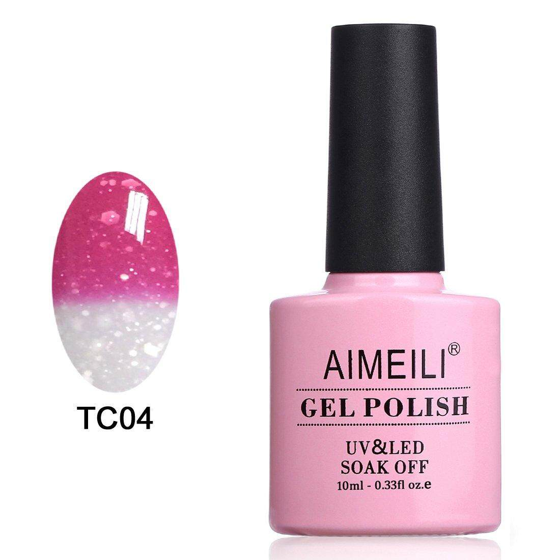 [ iiMONO ] AIMEILI Soak Off UV LED Temperature Color Changing Chameleon Gel Nail Polish - Hot Pink to Glitter White (TC04) 10ml