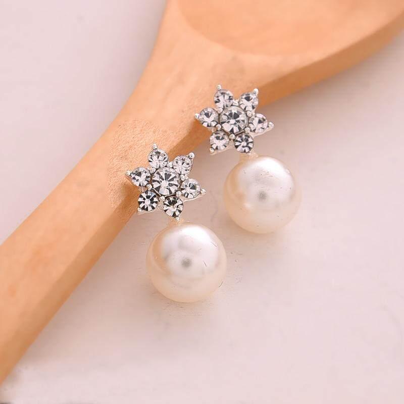 ... Romantis Simulasi Mutiara Anting-anting Tatah untuk Wanita Kepingan Salju Kristal Anting Telinga Zircon Perhiasan ...