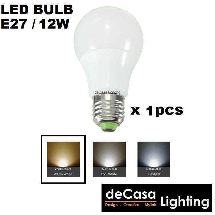 1pcs 12W Led Lamp Bulb E27 Lamp Holder DECASA Globe Bulb Warm White (DCS-MGB-E27-12W-WW)