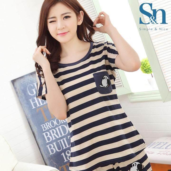 【SIMPLE & NICE】Korean Fashionista Women Blue Stripe Design Casual Summer Wear Set (Beige - Size: M-XXL)