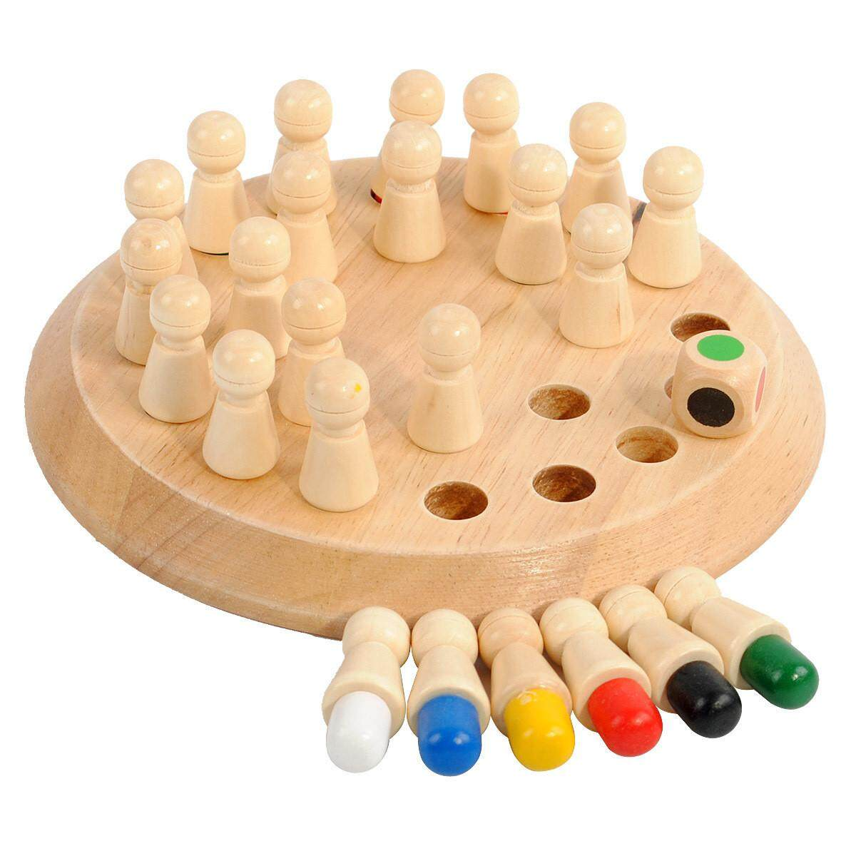 [All4kids] Wooden Coloured Chess Memory Game