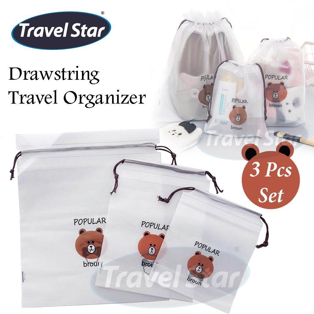 Travel Star 3 Pcs Set Bear Drawstring Travel Organizer Cloth Organizer Travel Bag