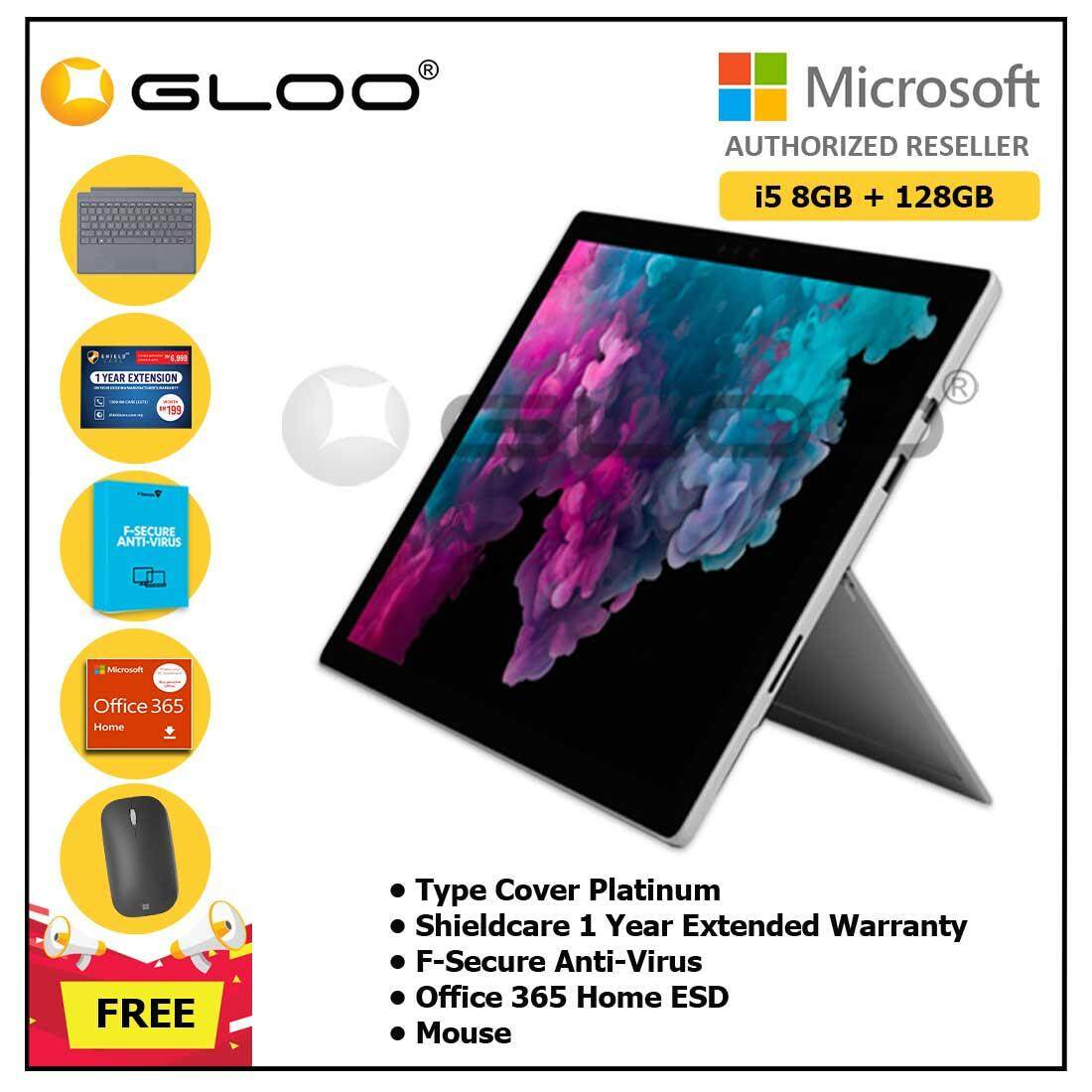 Microsoft Surface Pro 6 Core i5/8GB RAM -128GB + Type Cover Platinum + Office 365 Home ESD +  F-Secure End Point Protection + Shieldcare 1 Year Extended Warranty + Mouse