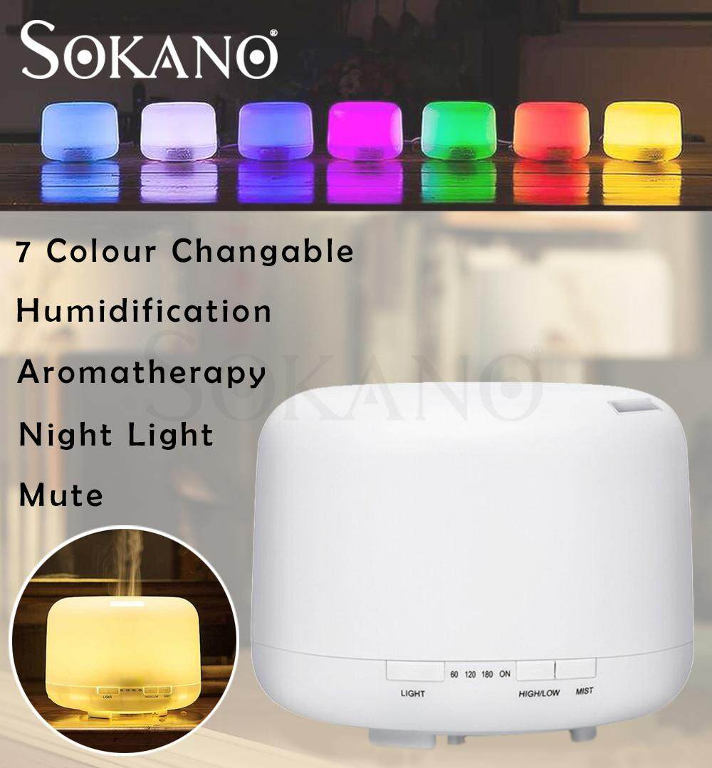 SOKANO 500ML Humidifier Ultrasonic Aroma 7 Colour Changeable Humidifier Purifier Diffuser No Noise Quiet Silent Light Diffuse Essential Oil (Malaysia 3 Pins Plug)