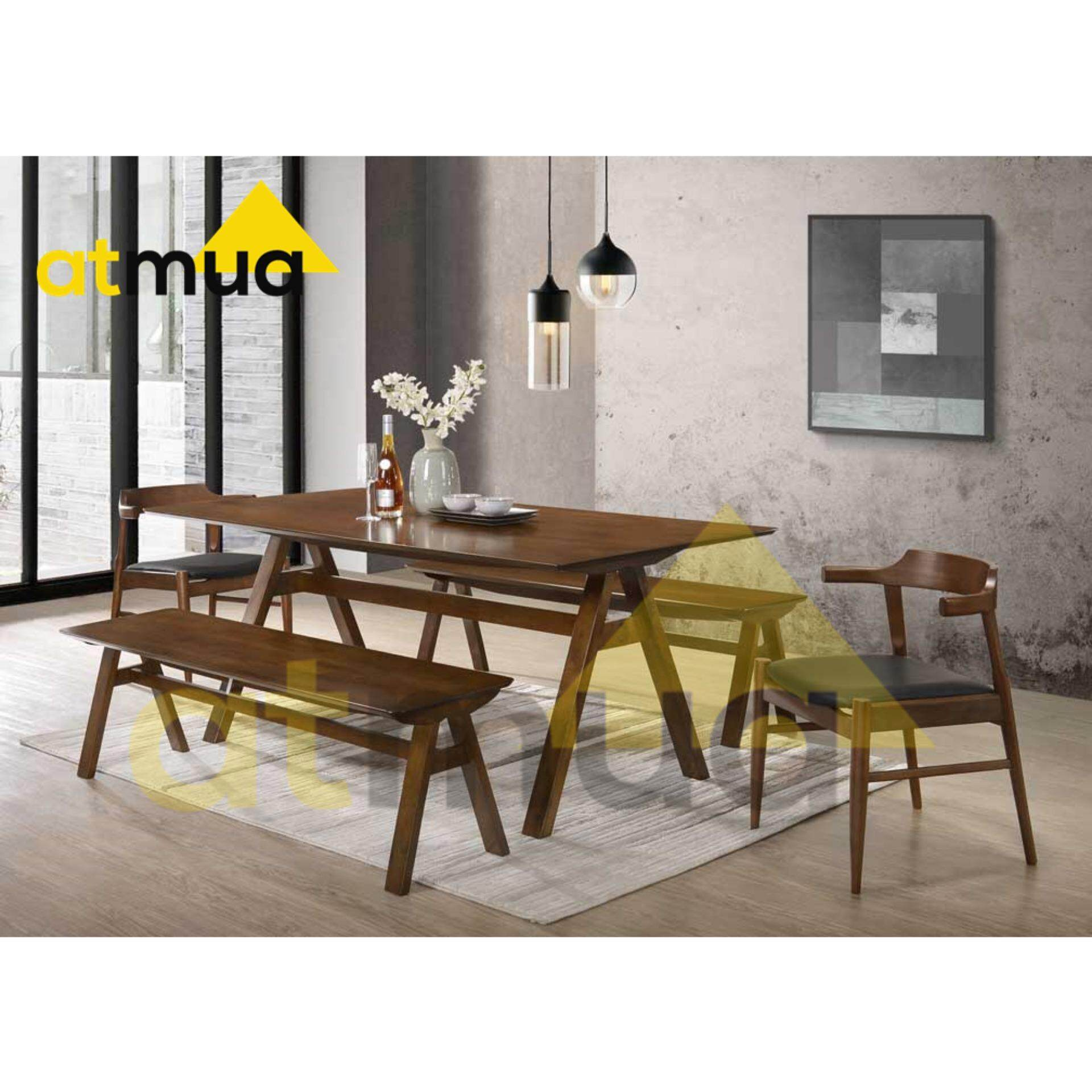 Atmua Vivo Dining Set (1 Table + 2 Bench Chair + 2 Chair) [Full Solid Rubber Wood] 6 Feet Length *Suitable For Caf  8 Seater