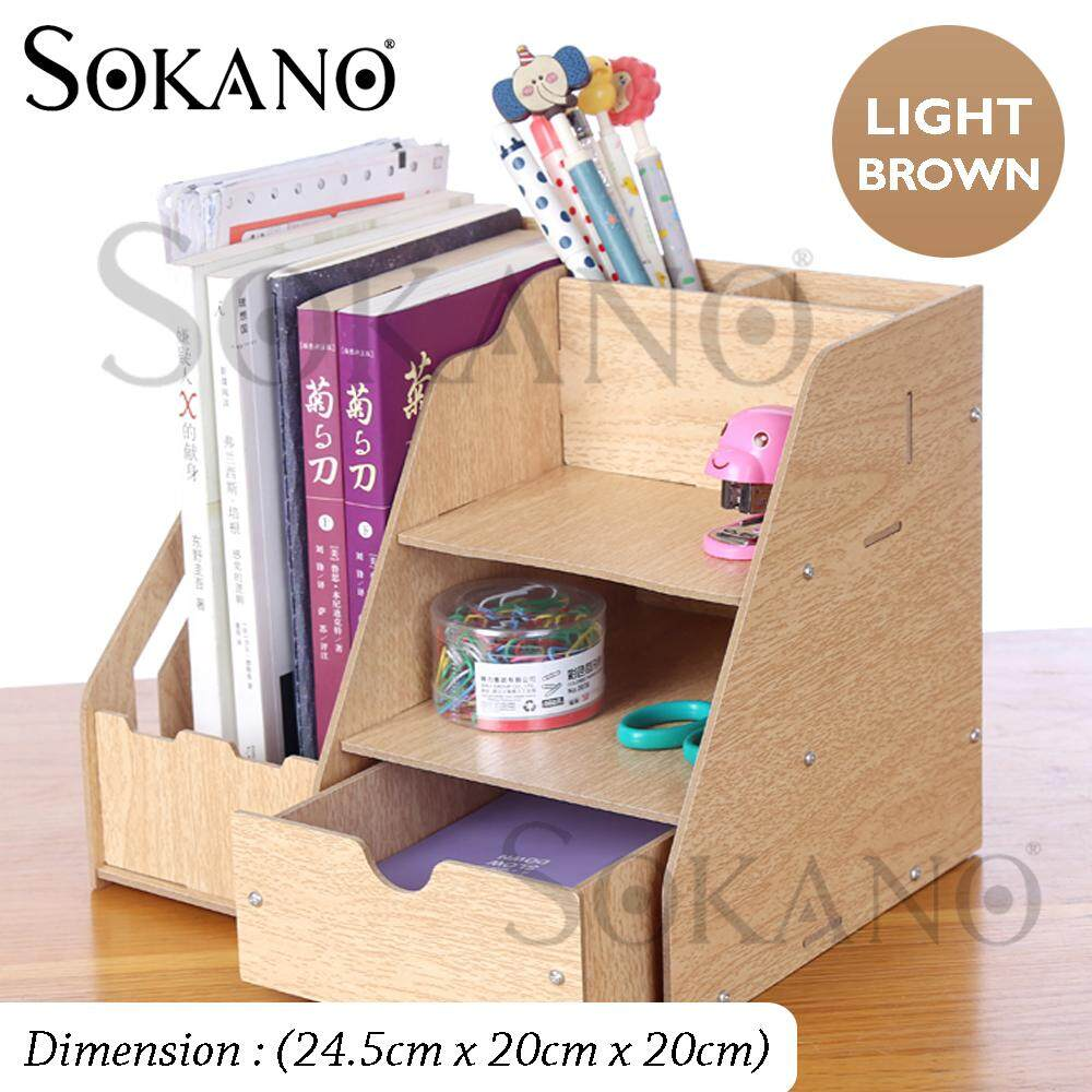 SOKANO 1034C Premium DIY Wooden Storage Organizer Book Shelf Rack Table Desk Organizer