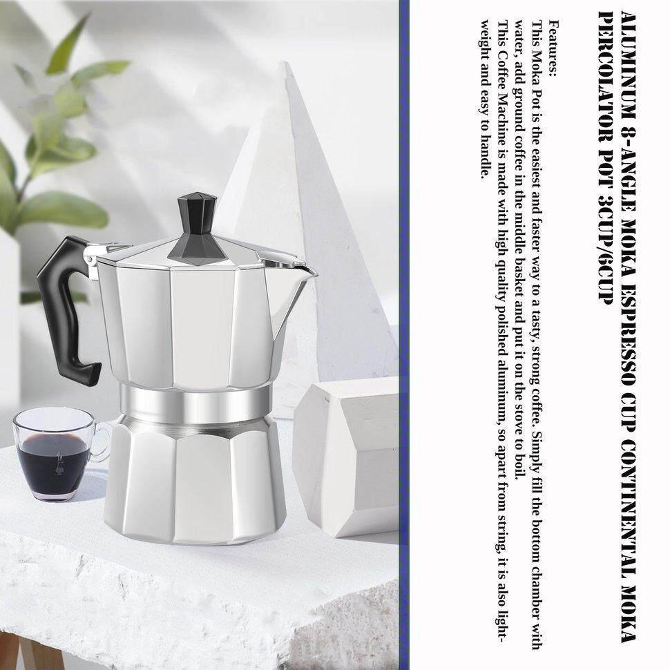 Detail Gambar UINN Aluminum 8-Angle Moka Espresso Cup Continental Moka Percolator Pot 3cup Silvery - intl Terbaru