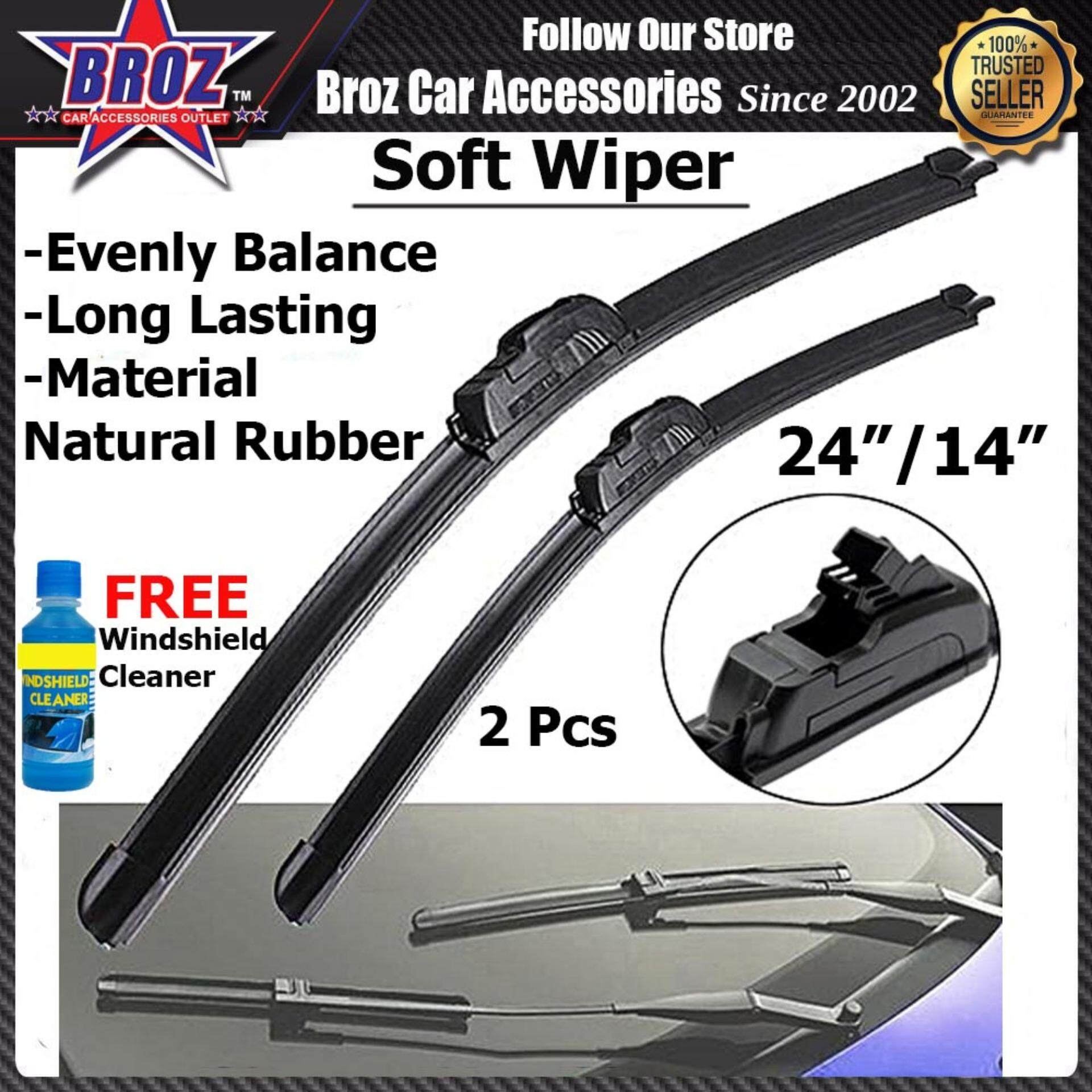 "City 2003-2013 Jazz 2003-2007 Wish 2010-2017 Livina Yaris Vios 2007-2019 Car Natural Rubber Soft Wiper 24""/14"" (2pcs)"