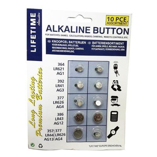 1 Pack (10 Pieces Alkaline Button Cell Battery Ag1/Lr621/364/Ag3/Lr41/392/Ag4/Lr626/377/Ag12/Lr43/386/Ag13/Lr44/357/Ag4/Lr626/377 Malaysia