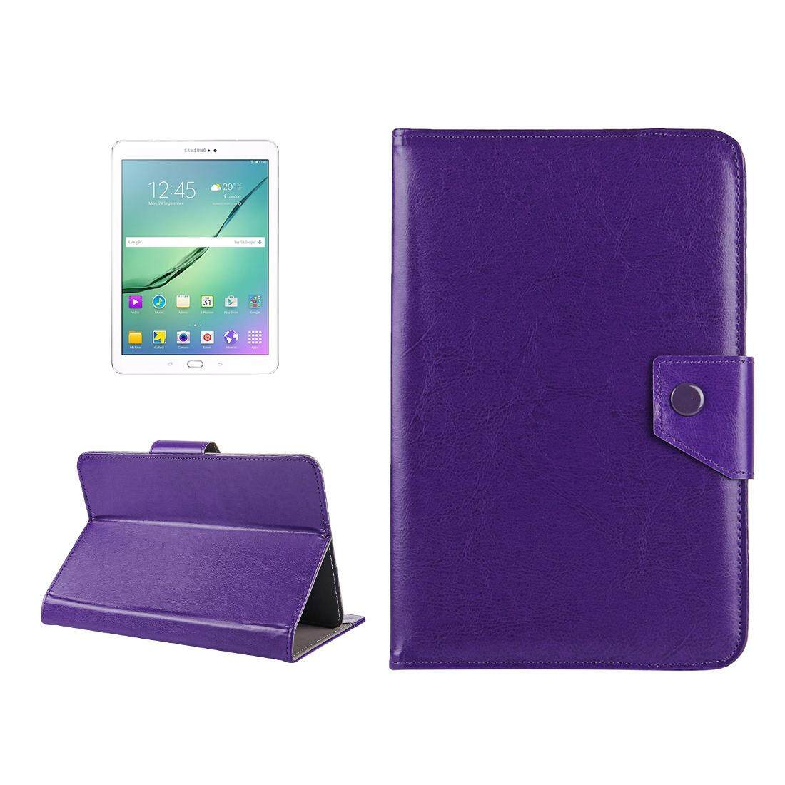 10 inch Tablets Leather Case Crazy Horse Texture Protective Case Shell with Holder for Asus ZenPad 10 Z300C, Huawei MediaPad M2 10.0-A01W, Cube IWORK10(Purple) - intl