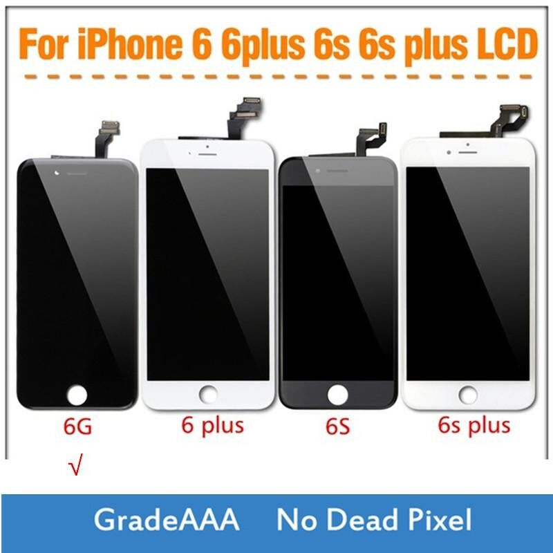 1 Pcs Layar LCD dan Digitizer Layar Sentuh untuk iPhone 6 6G Hitam dan Putih -