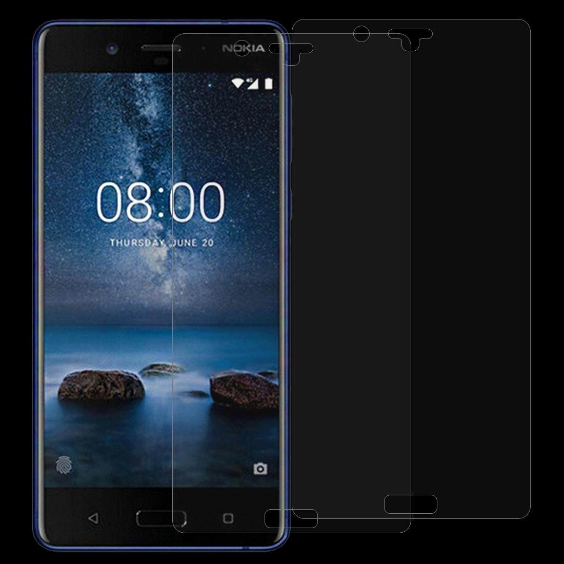 2 PCS Nokia 8 0.26mm 9H Surface Hardness 2.5D Curved Edge Tempered Glass Screen