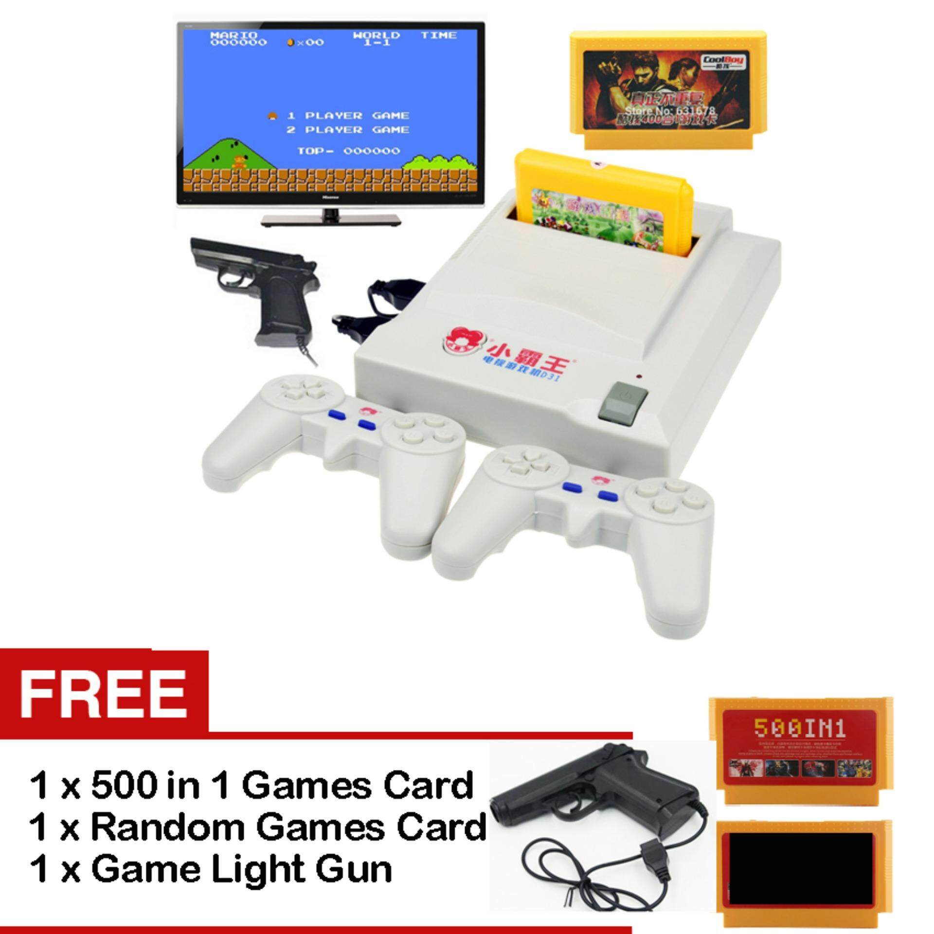 2 Player TV Video Game System Console Xiao Ba Wang D31 With Free 500 In 1 and 11 in 1 Games Cards