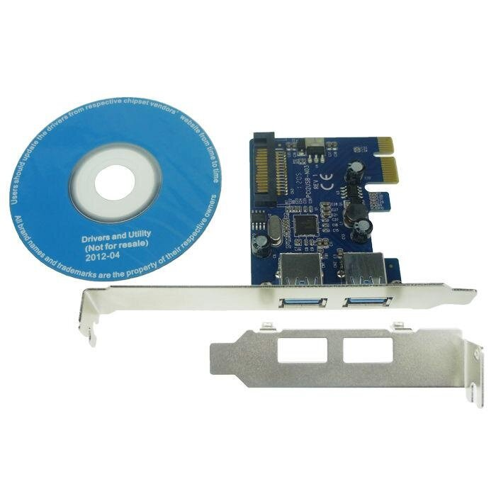 2 ports USB 3.0 PCI express PCI-e Adapter with low profile bracket Chip NEC - intl