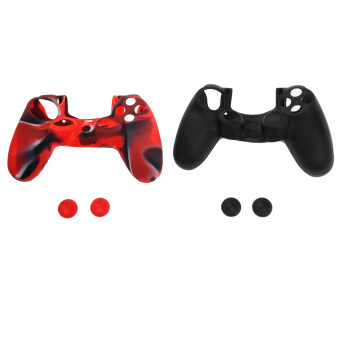 Harga 2 Sets of Replacement Soft Silicone Protective Skin Case Covers& Joystick Thumbstick Caps for Sony PlayStation 4/PS4Controller (Black/Red)