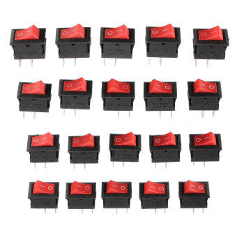 20Pcs 250V 3A Mini Boat Rocker Switch SPST ON-OFF 2-Pin Red PlasticButton