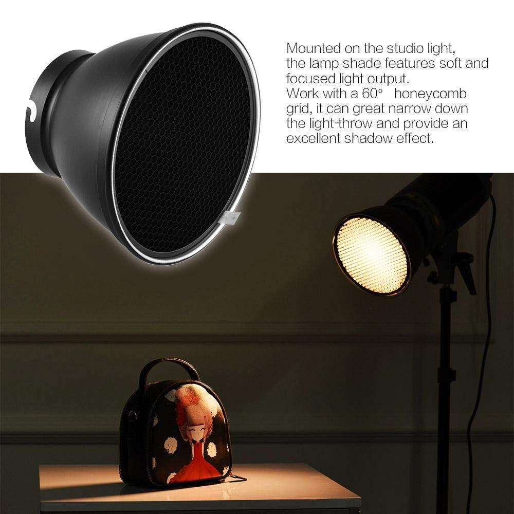 7 Standard Reflector Diffuser Lamp Shade Dish With 60 Honeycomb Grid Universal Flash 210mm Elinchrom Mount For