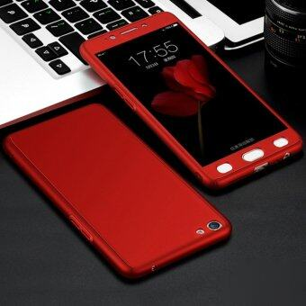 360 Degree Full Body Protection Cover Case With Tempered Glass for Oppo F1S A59 (Red