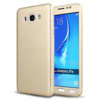 360 Degree Full Body Protection Cover Case With Tempered Glass forSamsung Galaxy J7 2016 (Gold)