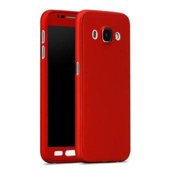 Harga 360 Degree Full Body Protection Cover Case With Tempered Glass forSamsung Galaxy J7 2016 (Red)