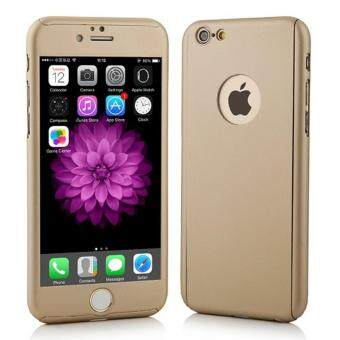 360 Degree Full Body Protection Cover Show Logo Case With Tempered Glass For iPhone 5/5S/5SE (Gold)