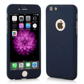 Harga 360 Degree Full Body Protection Cover Show Logo Case With TemperedGlass For iPhone 5/5S/5SE (Blue)