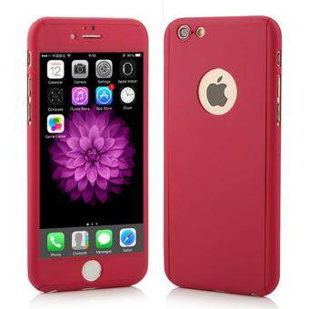 Harga 360 Degree Full Body Protection Cover Show Logo Case With TemperedGlass For iPhone 5/5S/5SE (Red)