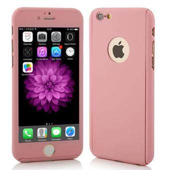 Harga 360 Degree Full Body Protection Cover Show Logo Case With TemperedGlass For iPhone 5/5S/5SE (Rose Gold)