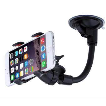 Harga 360? Rotation Car Mount Windshield Phone Holder For Most PhoneDouble Clip Car Mount Car Holder